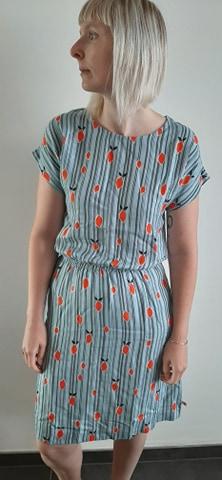 Retro-kleding-jurk met streepjes en limoenen_front Froy&Dind