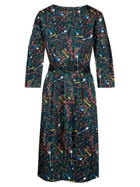 wowtogo-retro-jurk-blauw-herfstprint-front