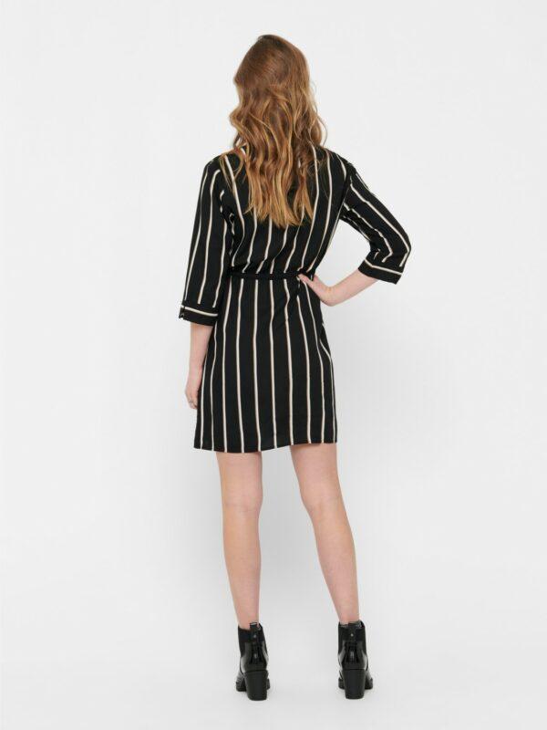 only-retro-jurk-zwart-strepen-achter-model