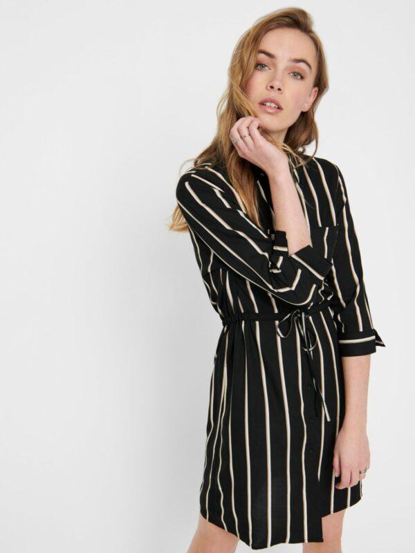 only-retro-jurk-zwart-strepen-voor-detail-zij