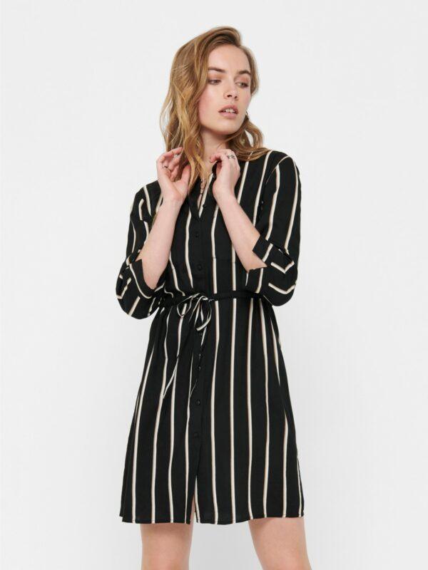 only-retro-jurk-zwart-strepen-voor-model