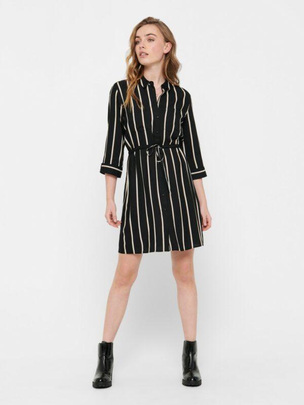 only-retro-jurk-zwart-strepen-voor-model-strak