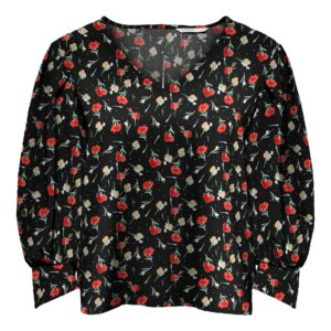 Retro-Only-top-blouse-black-small-flower-voor-leverancier