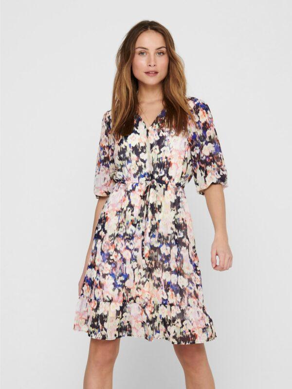 Retro-Only-jurk-pastel-multi-print-voor-model
