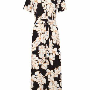 Retro-Zilch-lange-jurk-hawaii-black-voor