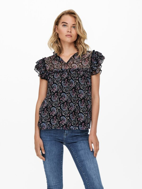 Retro-Only-top-blouse-black-voor-model-detail