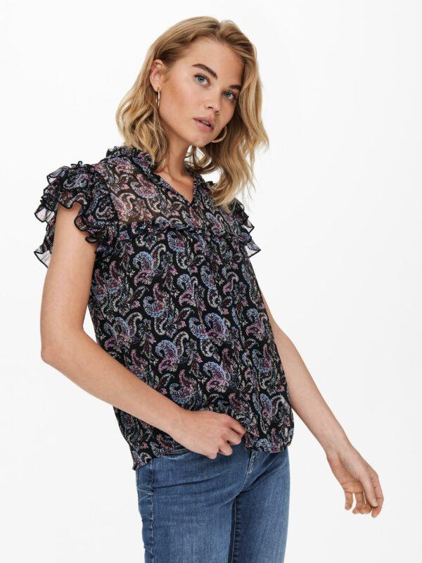 Retro-Only-top-blouse-black-voor-model-zij-detail
