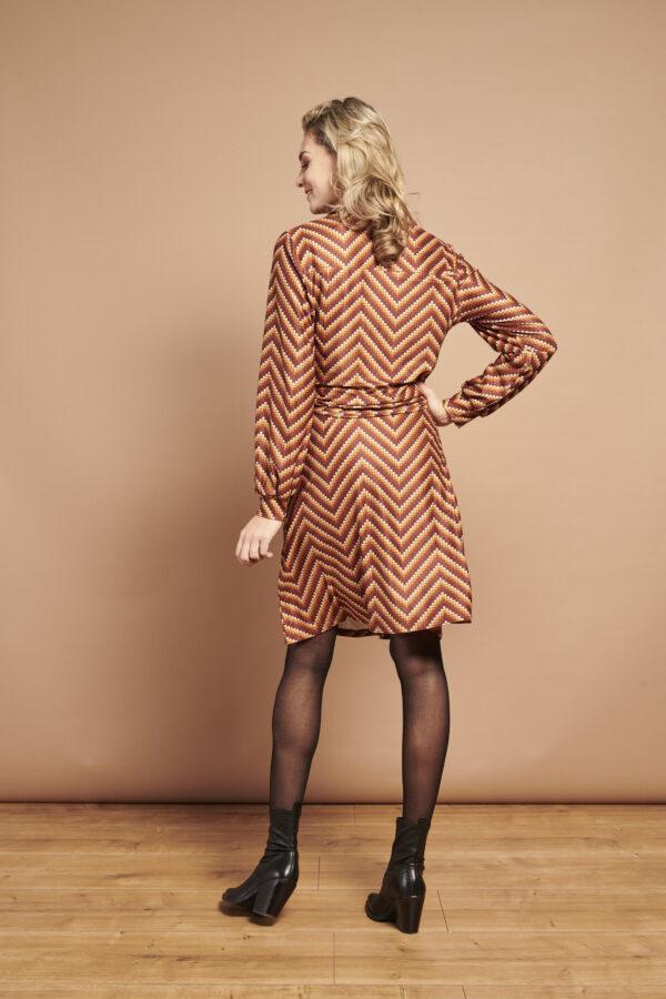 Smashed-Lemon-jurk-strepen-bruin-model-achterkant