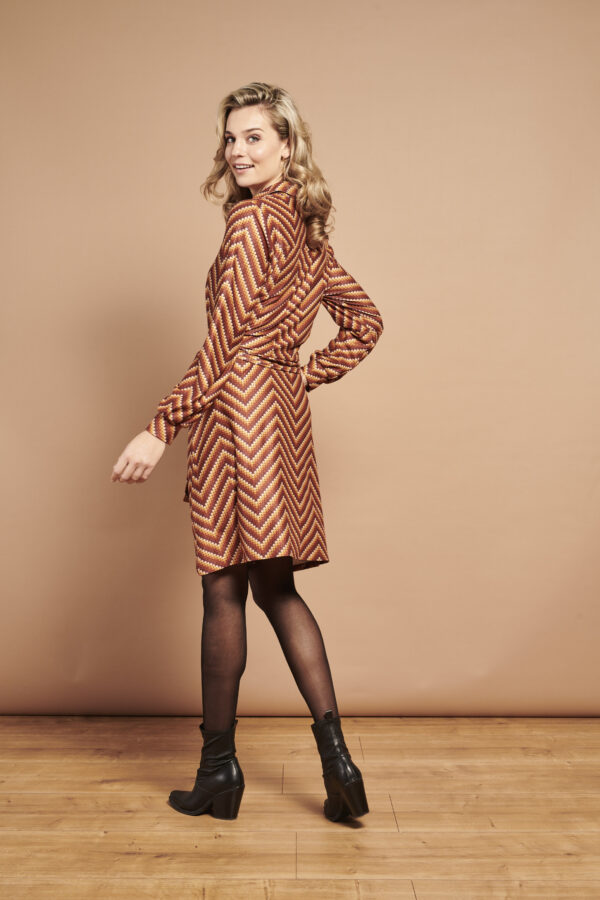 Smashed-Lemon-jurk-strepen-bruin-model-zijkant-detail